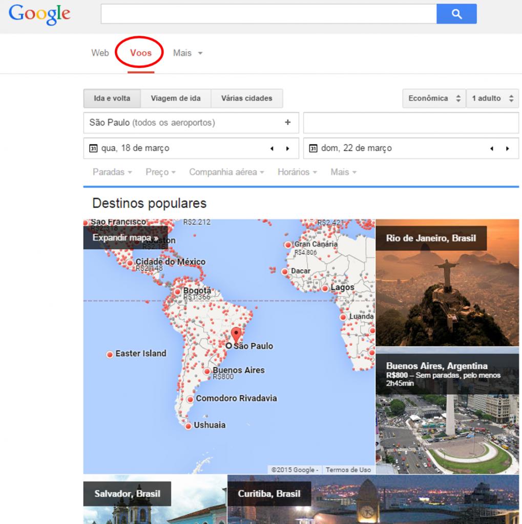 Ferramenta do Google GoogleVoos